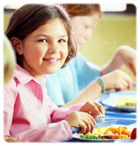 Child eating school lunch
